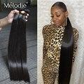 Мелоди 28 30 32 36 40 дюймов прямые человеческие волосы пряди 100% из натуральных бразильских волос 1 3 4 пряди сделка по низким ценам