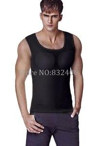 Image 5 - Pecs kas yelek erkekler yastıklı vücut şekillendirici erkek vücut geliştirme T Shirt karın iç çamaşırı bira göbek tankı üstleri