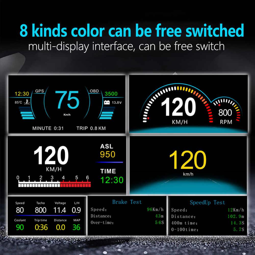 車のヘッドアップディスプレイデュアルシステム OBD2 + GPS で 2 1 速度プロジェクター C1 オンボードコンピュータ HUD ミラー診断ツール水温燃料