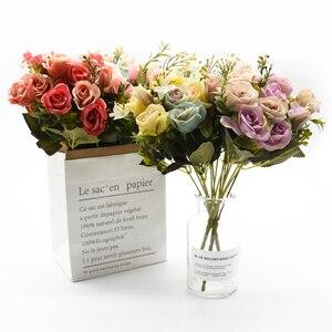 Image 4 - 13 kafaları ipek gül gelin buketi düğün noel ev dekorasyon için vazo süs saksı yapay çiçekler scrapbooking