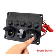 Car Auto Boat Marine RV Pickup Fuse Box Rocker Switch Panel 5 Gang Blue Inline Socket Voltmeter USB Charger Touch