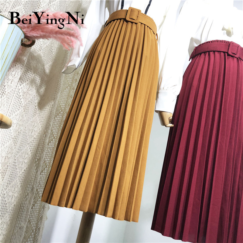 Beiyingni High Waist Women Skirt Casual Vintage Solid Belted Pleated Midi Skirts Lady 11 Colors Fashion Simple Saia Mujer Faldas Skirts    - AliExpress