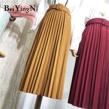 Beiyingni yüksek bel kadın Casual Vintage katı kuşaklı pilili Midi etekler bayan 11 renkler moda basit Saia Mujer Faldas