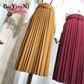 Beiyingni с высокой талией женские юбки на каждый день в винтажном стиле; Однотонные поясом плиссированные платья миди юбки женские 11 Цвета Модные Простые Saia Mujer Faldas - фото