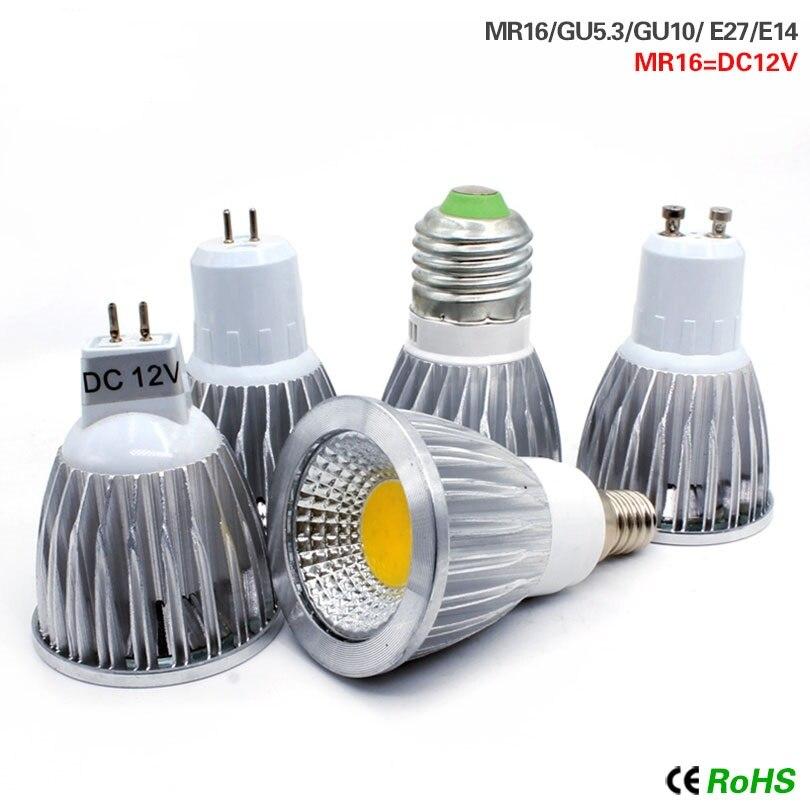 Светодиодный светильник E27 E14 220V MR16 DC 12V, лампа COB и высокая мощность 9W 12W 15W, высокая яркость, лампада, Светодиодный точечный светильник Bombilla