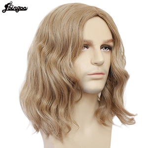 Image 2 - Ebingoo Captain Marvel High Temperature Fiber Brown Medium Length Body Wave Synthetic Cosplay Wigs Middle Part for Men Custome