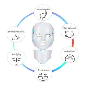 Image 4 - 7 colori Led maschera ringiovanimento della pelle fototerapia terapia della luce Anti invecchiamento maschera coreana bellezza macchina sbiancante collo strumento per la cura della pelle