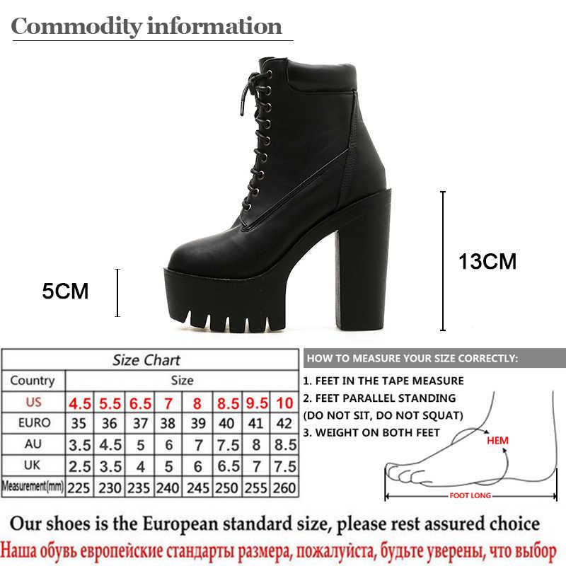 Gdgydh 2019 Nieuwe Vrouwen Enkellaars Vetersluiting Zacht Leer Ronde Neus Platform Vrouwelijke Korte Laarzen Zwart Wit Gothic Dikke Hakken schoenen