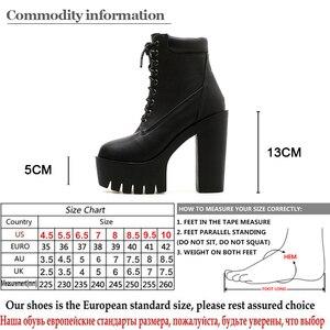 Image 5 - Gdgydh 2020 새로운 여성 발목 부츠 레이싱 부드러운 가죽 라운드 발가락 플랫폼 여성 짧은 부츠 블랙 화이트 고딕 두꺼운 발 뒤꿈치 신발