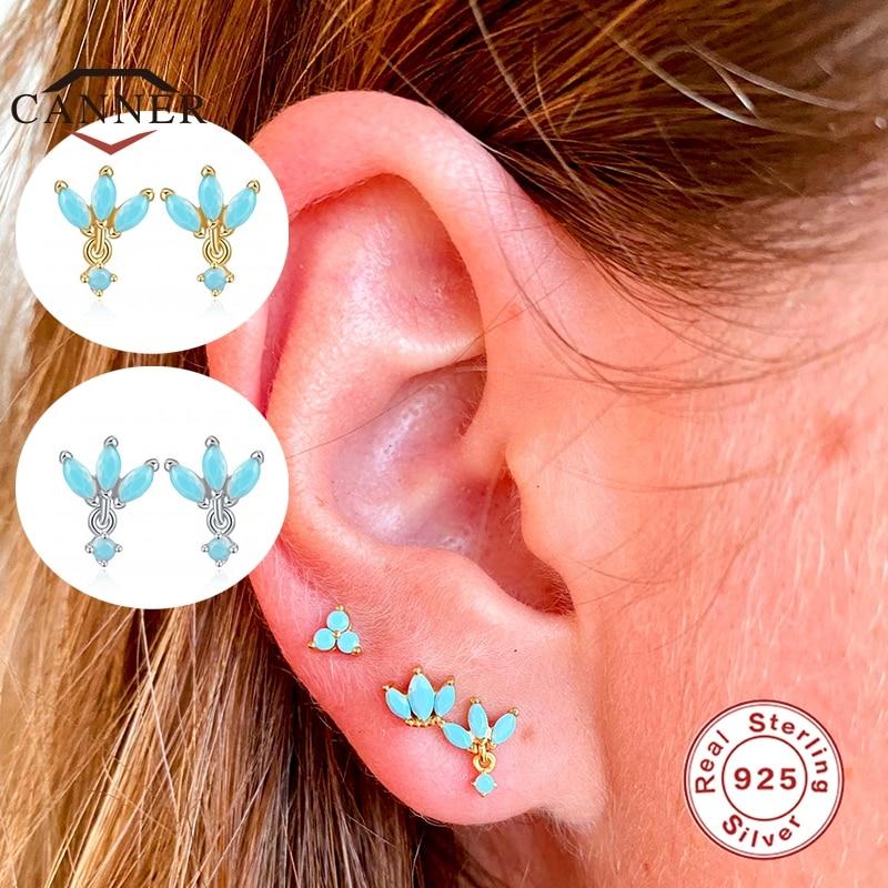 CANNER Real 925 Sterling Silver Stud Earrings for Women Classic Clover Crown Zircon Piercing Earring Earings Jewelry pendientes