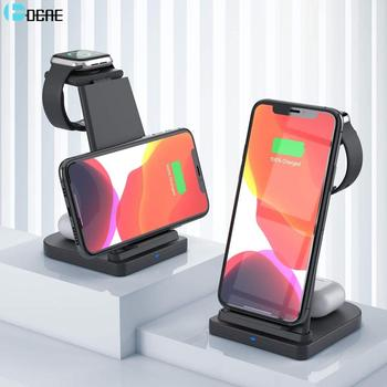 15w fast wireless charger 4 in 1 qi charging dock station for iphone 12 11 pro xs max xr x 8 apple watch se 6 5 4 3 airpods pro 3 in 1 15W Qi Wireless Charger Stand For iPhone 11 X XS XR 8 Fast Charging Dock Station for Apple Watch SE 6 5 4 3 2 AirPods Pro