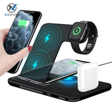 KSTUCNE 4 in 1 Qi 15W Wireless Fast Charging Dock Station For iPhone 12 11Pro XS XR X 8 For Apple Watch iWatch 5 4 3 AirPods Pro