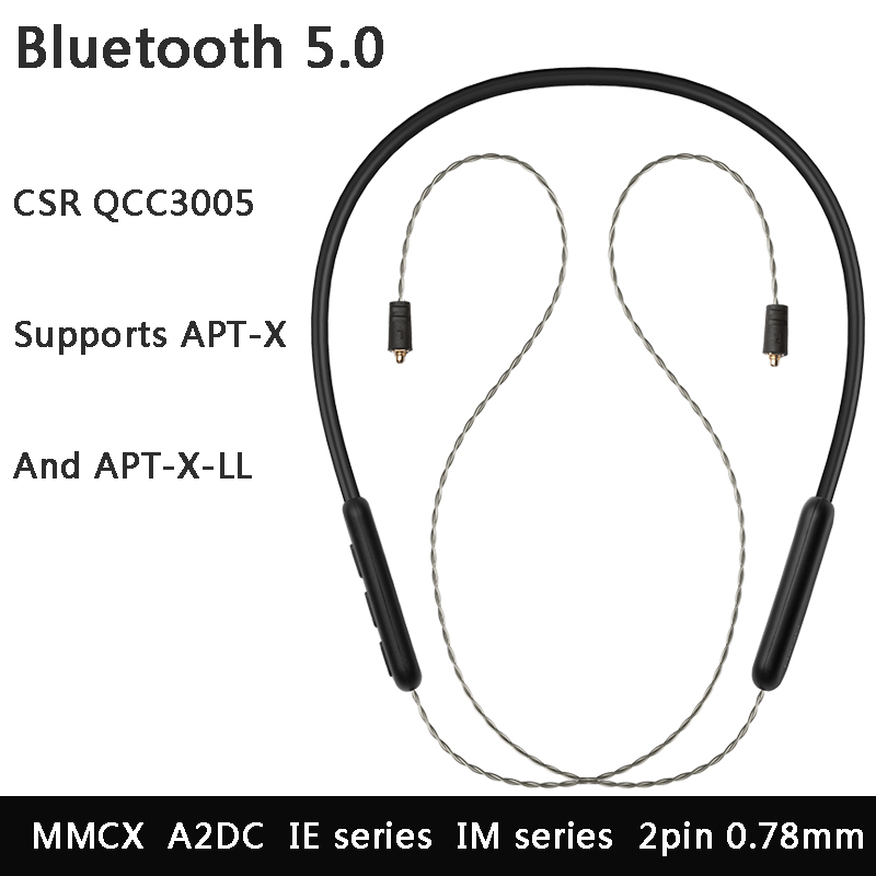 Bluetooth 5.0 Apt x ll Headset Cable Mmcx 2pin 0.78 A2DC