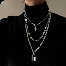 Necklace Pendant Jewelry Gifts Multilayer Long-Chain Key-Cross Hip-Hop Women for AOMU