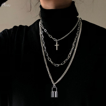 Fashion Multilayer Hip Hop Long Chain Necklace For Women Men Jewelry Gifts Key Cross Pendant Necklace Accessories