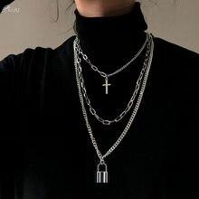 AOMU 2020 moda wielowarstwowy Hip Hop długi naszyjnik z łańcuszkiem dla kobiet mężczyzn biżuteria prezenty klucz krzyż wisiorek akcesoria naszyjnikowe