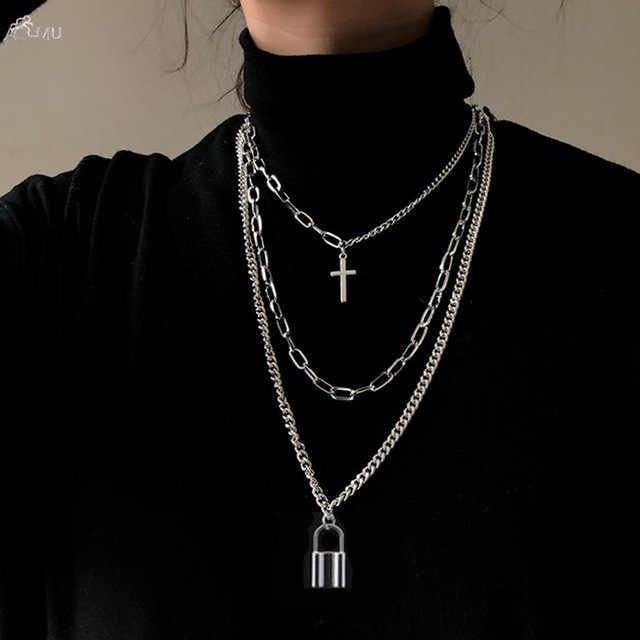 Aomu 2020ファッション多層ヒップホップロング女性男性ジュエリーギフトキークロスペンダントネックレスアクセサリー