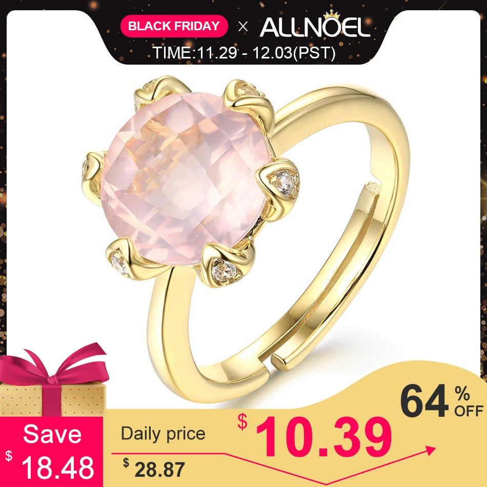 ALLNOEL Silver 925 Jewelry Rings For Women Natural Gemstone Rose Quartz  Resizeable Wedding  Luxury Brand Jewelry Eternity Ring