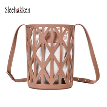 Ladies bag 2019 new hollow fishing net bucket bag European and American style single shoulder Messenger bag pu female bag цены