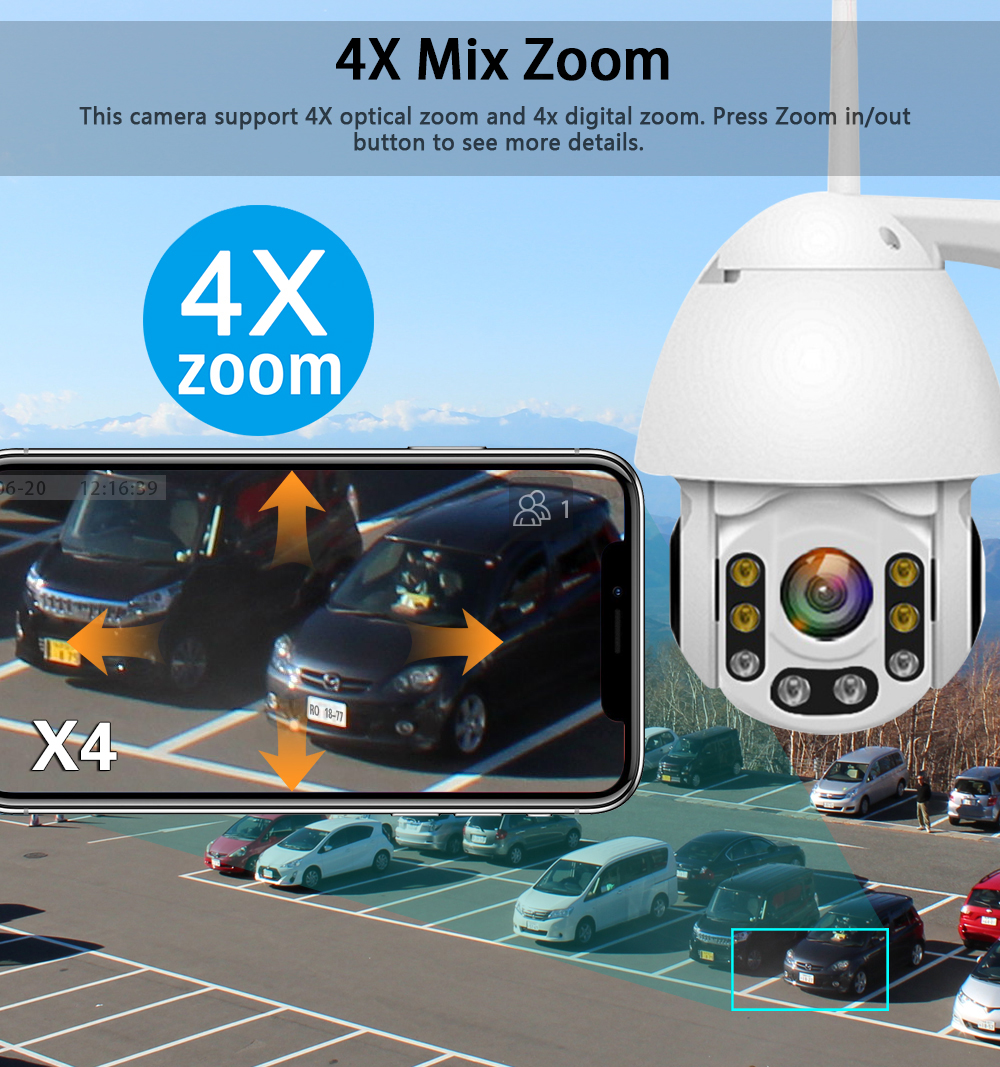 1080P 2mp 4X Zoom Wifi PTZ IP Camera Outdoor 2 Way Audio Waterproof IP66 Full Color Night Vision Security CCTV Camera