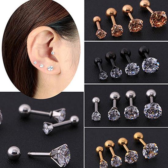Men Women Stud Earrings Rhinestone Cartilage Tragus Bar Helix Upper Ear Earring Stud Jewelry Aretes De Mujer сережки женские
