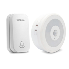 Yiroka Self Powered Wireless DoorBell NO battery Waterproof Door Bell Ring 200M Remote With Night Light 1 2 Button 1 2 Receiver цена в Москве и Питере