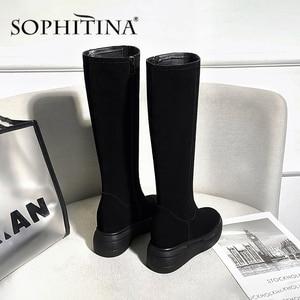 Image 4 - Sophitina Verhogen Binnen Laarzen Vrouwen Handgemaakte Lederen Koe Suede Comfortabele Elegante 2020 Winter Schoenen Nieuwe Laarzen PO373