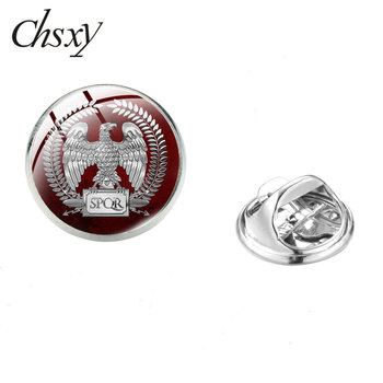 CHSXY Vintage Roman Empire SPQR Brooches Senate and People of Rome Symbol Art Photo Glass Dome Pins For Friend Gift Jewelry image