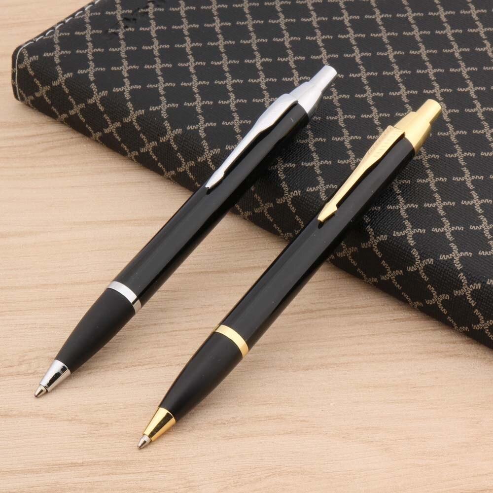 Новинка, Металлическая черная фоторучка, классическая золотая шариковая ручка с золотыми стрелками хорошего качества, элегантные канцеляр...