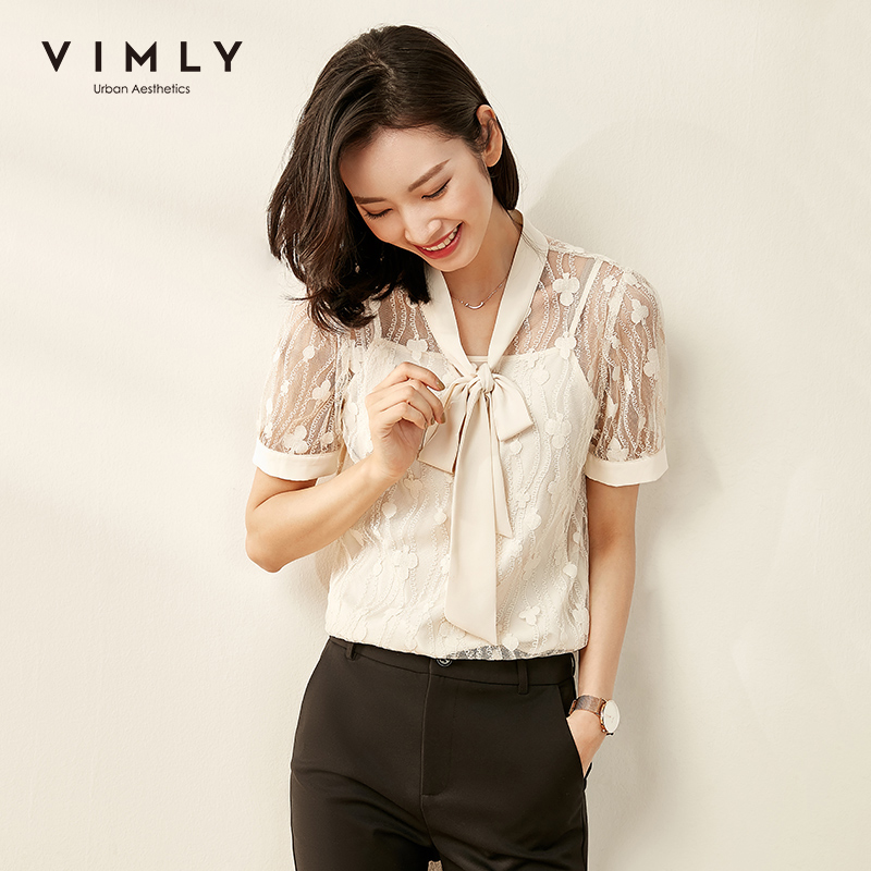 Vimly 2020 Summer Women Lace Hollow Blouse with Camisole Office Lady Elegant Bow Collar Short Sleeve Slim Female Shirts F1223