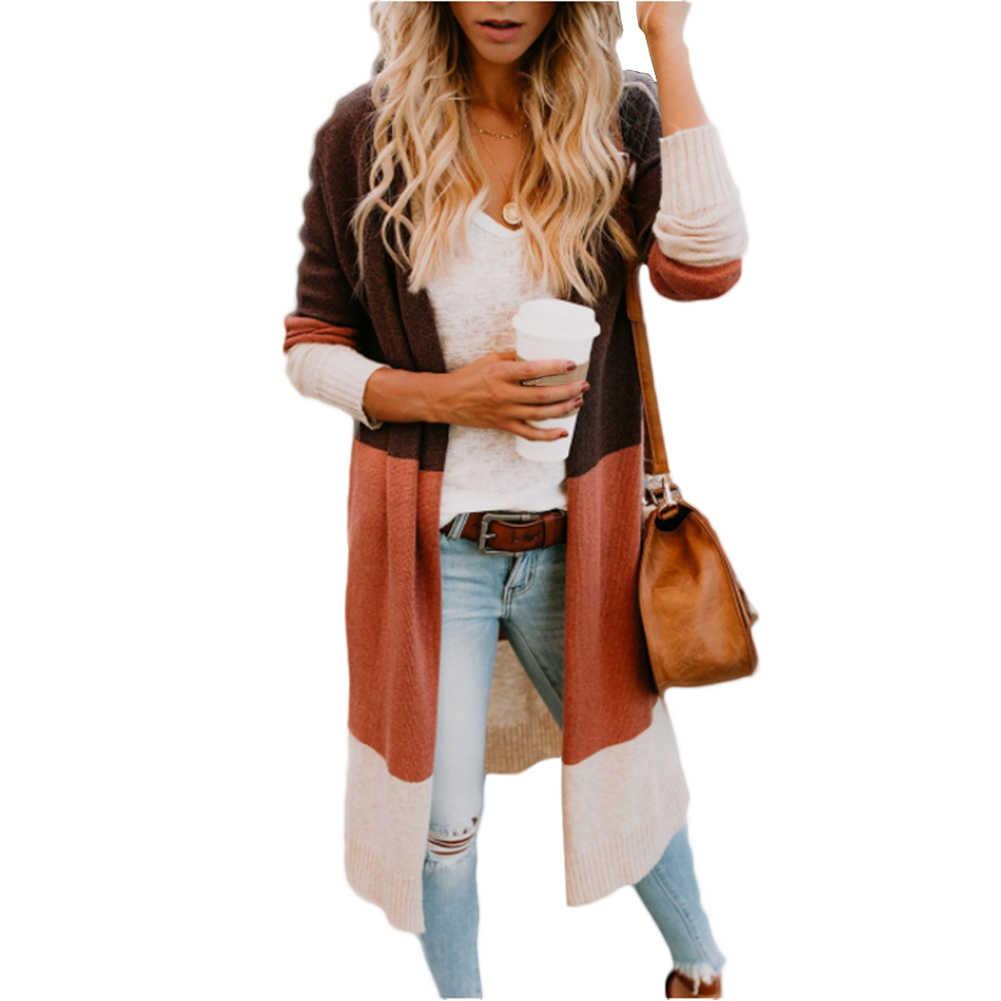 Открытый передний повседневный легкий длинный женский кардиган верхняя одежда плюс размер Осенняя мода тонкий мягкий вязаный свитер пальто с длинными рукавами