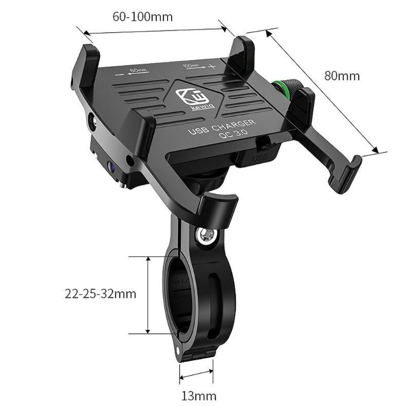 Image 5 - Metal Motorcycle Waterproof Cell Phone Holder Motorbike Handlebar Mirror Phone Stand with QC 3.0 USB Charger Socket MountPhone Holders & Stands   -