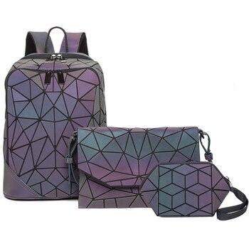 Φανταστικό Γυναικείο Σετ Φωσφορούχο Σακίδιο με Τσάντα Φάκελο, clutch και Πορτοφόλι που Λαμπυρίζουν τη Νύχτα σε Γεωμετρικά Σχέδια Μοντέρνο Ολογραφικό Γεωμετρικό backpack που Λάμπει στο Σκοτάδι
