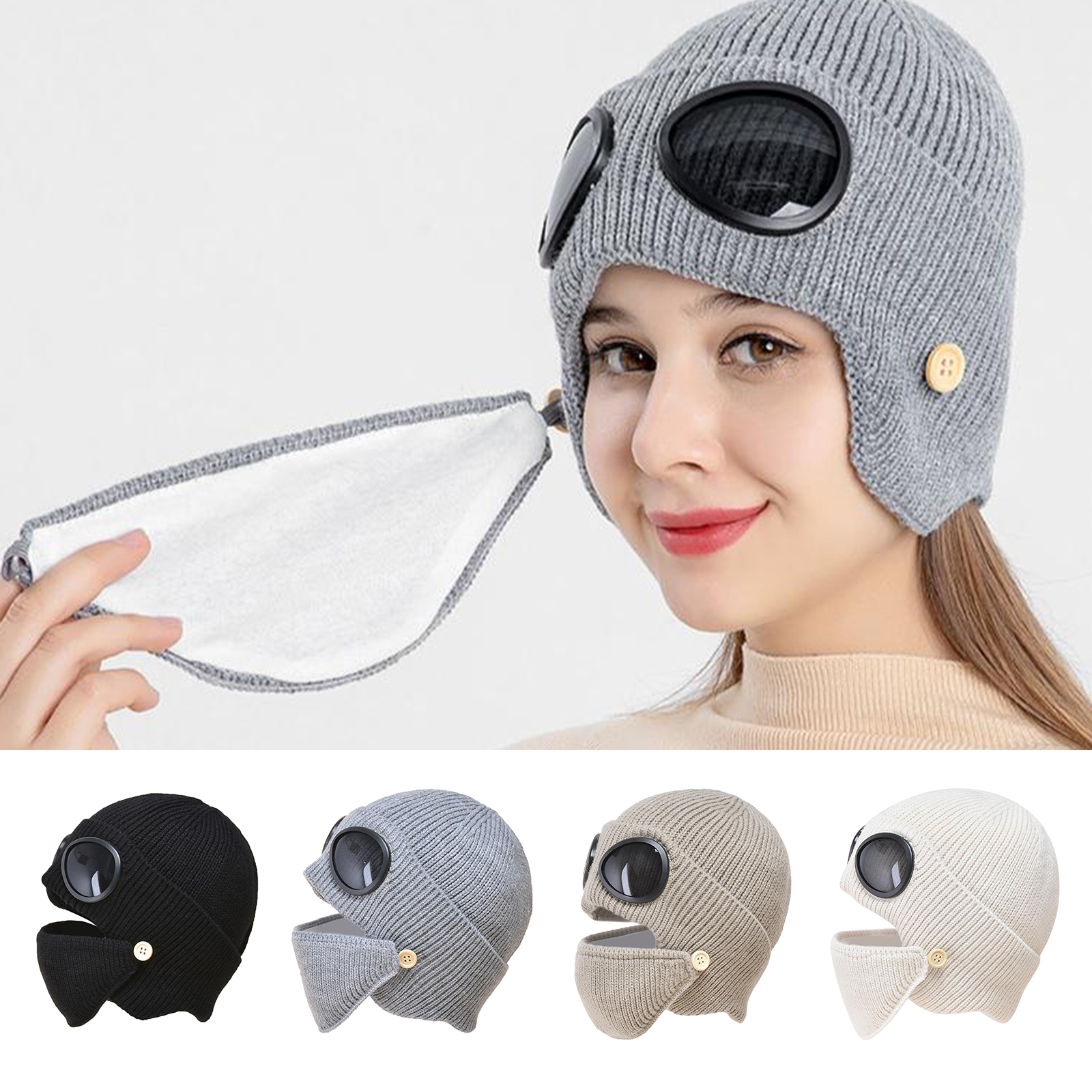3-in-1 Set Women`s Knitted Hat Caps Ear Warmer Goggles Beanie Winter Hat Skull Beanies Caps for Indoor and Outdoor Sports
