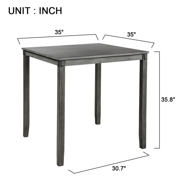 Square Counter Height Wooden Kitchen Dining Set, Dining Room Set With Table And 4 Chairs (Grey) 3
