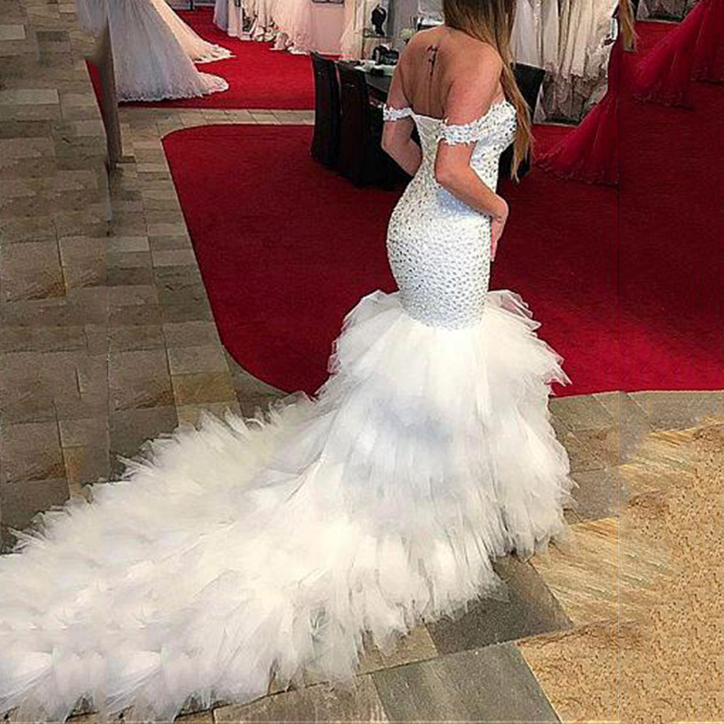 Luxury Crystal Beaded Evening Dresses With Feather Mermaid Formal Dresses Saudi Arabic Africa Evening Gowns Abendkleider