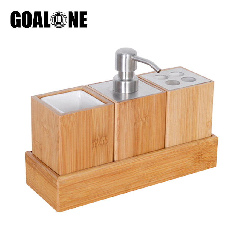 GOALONE 4Pcs Bamboo Bathroom Accessories Set Wood Pump Soap Dispenser Toothbrush Holder Storage with Tray Holder Home Decoration