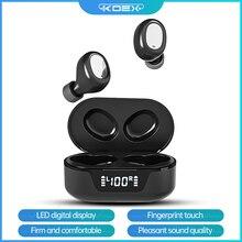 KOEX auriculares inalámbricos TW16 con Bluetooth 5,0, dispositivo de audio estéreo, deportivo, a prueba de agua, con micrófono, pantalla táctil LED, HD