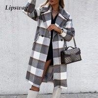 Cappotti di lana da donna Vintage elegante colletto rovesciato manica lunga Plaid giacche lunghe donna autunno inverno Cardigan abbottonato allentato