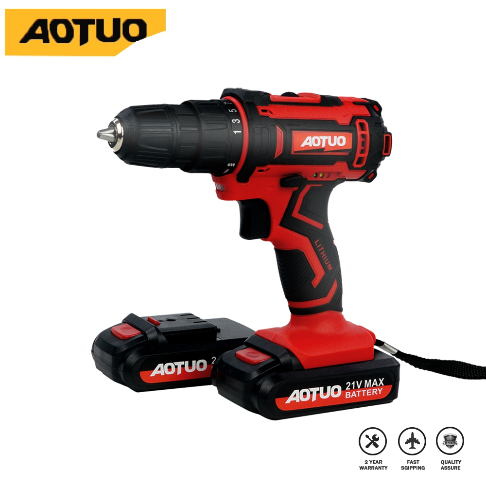 21v electric screwdriver  Lithium-Ion Battery Power Tools 2-Speed Cordless drill Rechargeable Mini Multi-function Drill