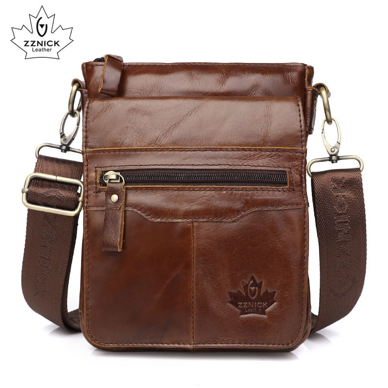 Men's Shoulder Bag Genuine Leather Bag Messenger Bags Men Belt Bags 2019 Fashion Flap Sling Crossbody Handbag Shoulder ZZNICK