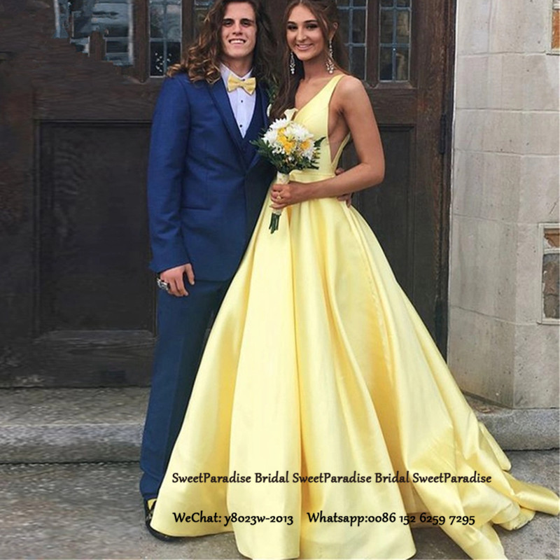 Yellow Satin Plunging Neck Bridesmaid Dresses A Line Long Sweep Train Vestido Madrinha Party Dress Wedding Guest For Women