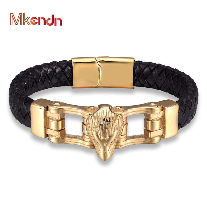 MKENDN Hot Sale Genuine Leather Bracelet For Men Vikings Wolf Leopard Hand Charm Bracelets Gold Magnet Handmade Punk Jewelry