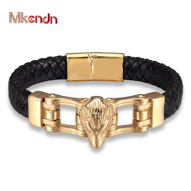 MKENDN Hot Sale Genuine Leather Bracelet For Men Vikings Wolf Leopard Hand Charm Bracelets Gold Magnet Handmade Punk Jewelry
