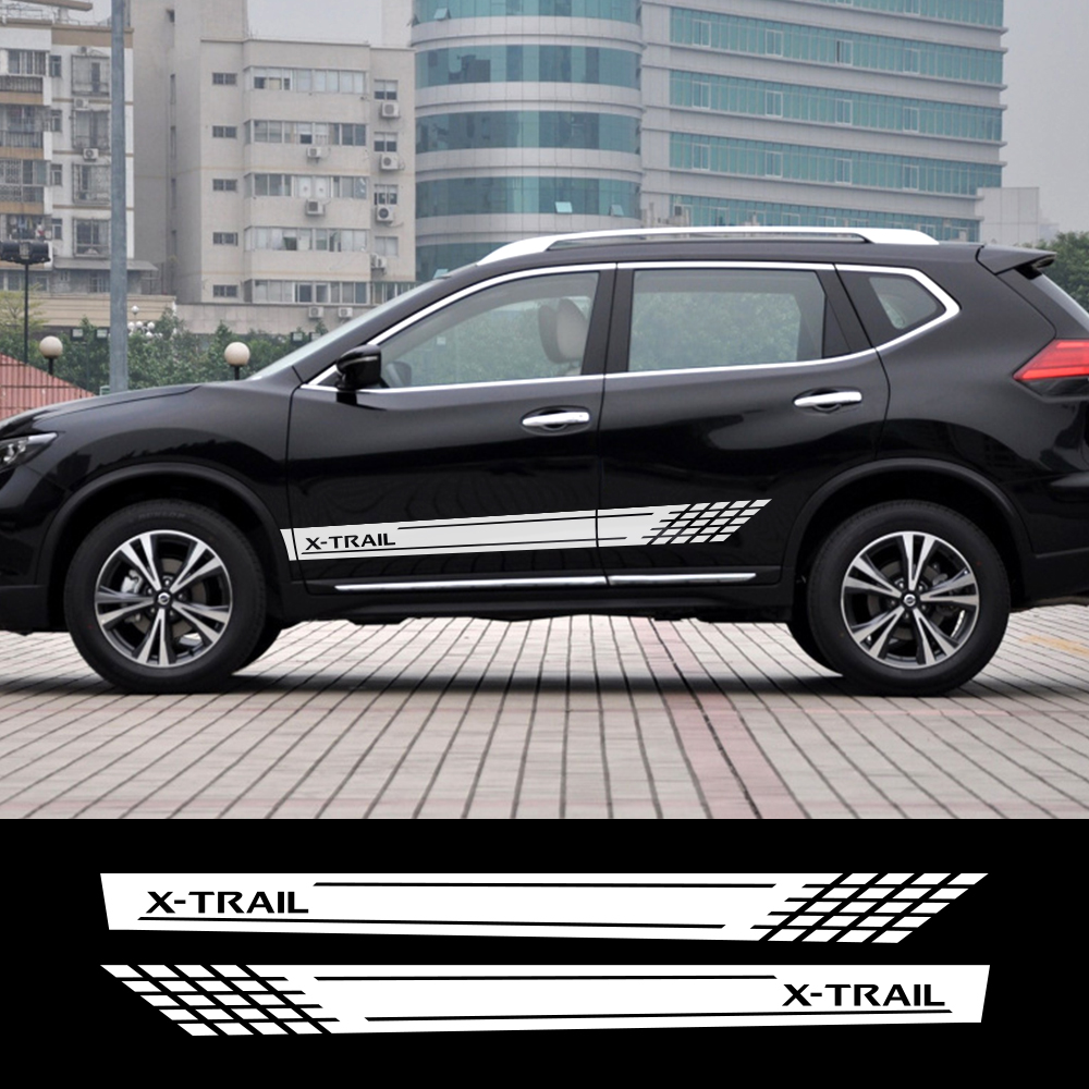 2pcs Car Long Side Stripe Stickers For Nissan X-Trail Vinyl Film Personalized  Waterproof Auto Racing Styling Decal Car Accesso