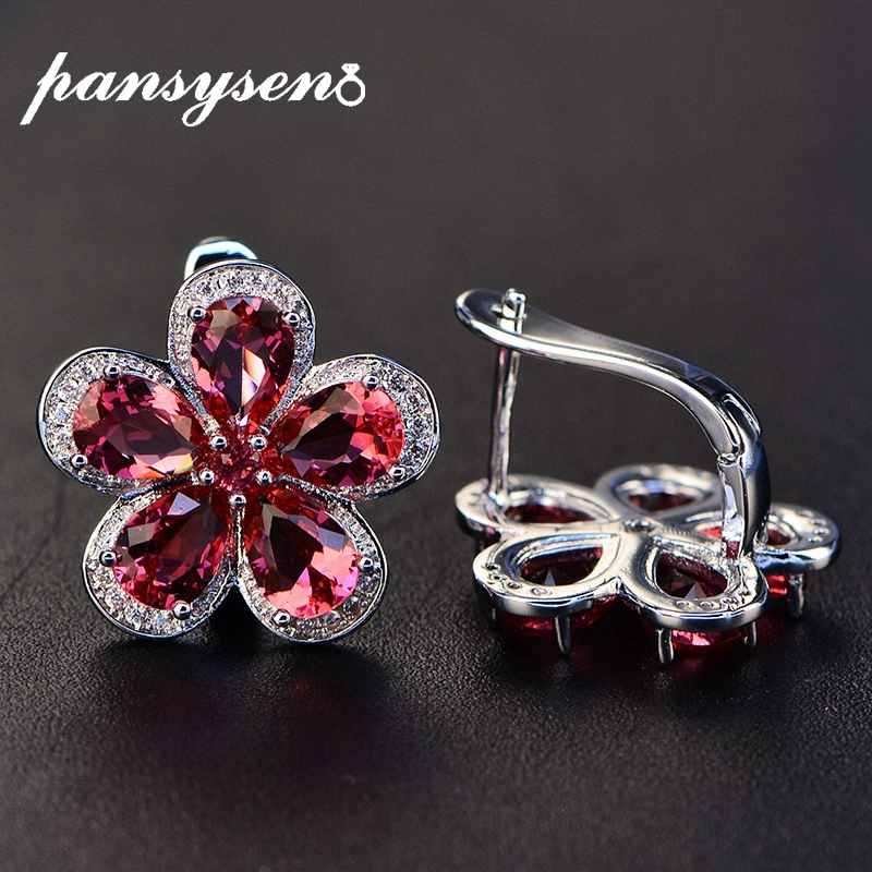 PANSYSEN Luxury Flower Design Ruby Gemstone Clip Earrings for Women Solid 925 Sterling Silver Jewelry Wedding Christmas Gifts(China)