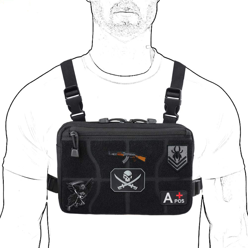 Tactical Combat Chest Rig Pack Front Bag Airsoft Vest Multi-Purpose Daypack Concealed EDC Carry Pouch With Hook And Loop Panel