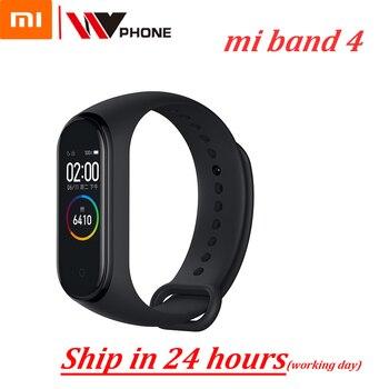 سوار المعصم الذكي الأصلي شاومي Mi Band 4 سوار للياقة البدنية MiBand 4 معدل ضربات القلب شاشة كبيرة تعمل باللمس رسالة ذكية