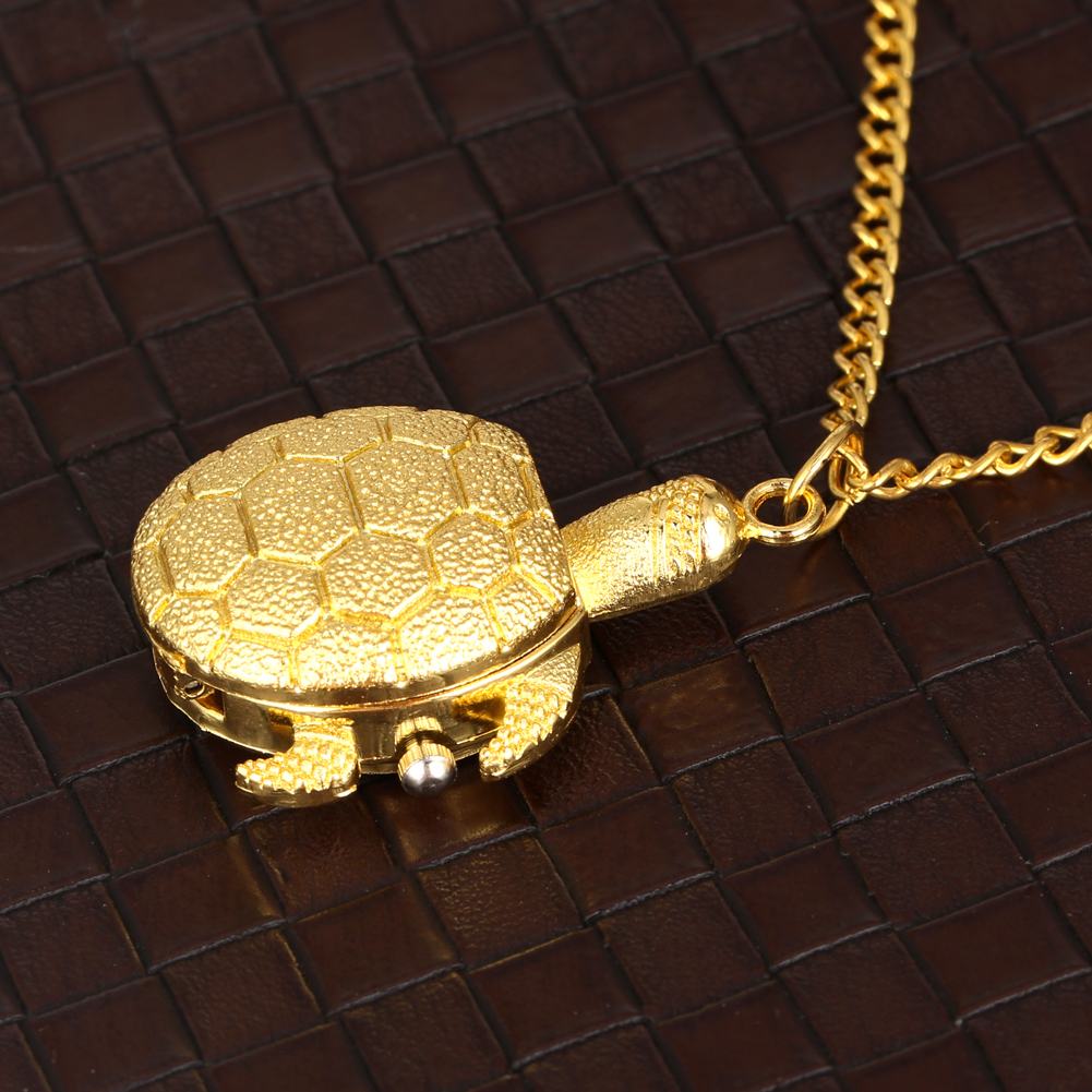 Golden Little Cute Tortoise Model Pocket Watch Concise Arabic Numerals Dial FOB Quartz Watches Slim Sweater Chain Pendant Clock