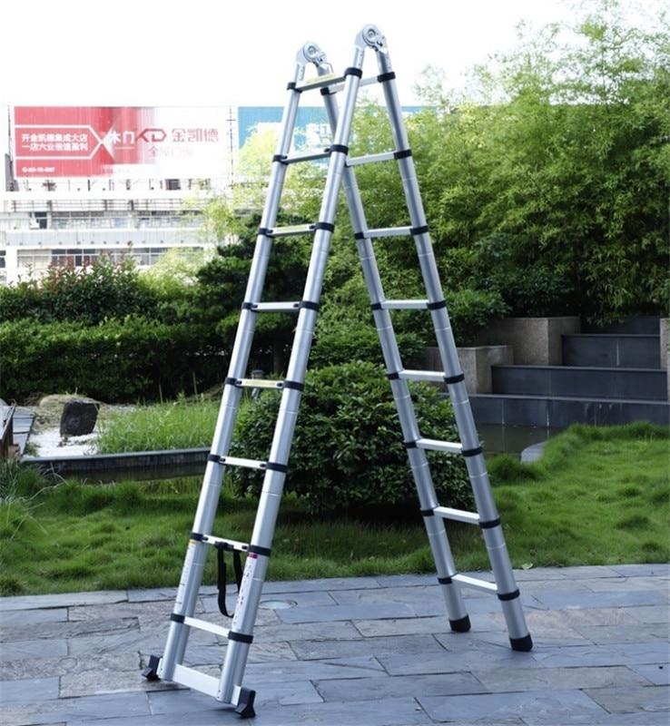 High Quality Thickening Aluminium Alloy Herringbone Ladder Portable Household 9+9 Steps Telescopic Ladders (2.65M+2.65M)